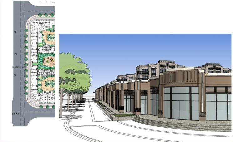 在社区入口设计了组合构筑体,与建筑风格相统一,增加了入口的仪式感